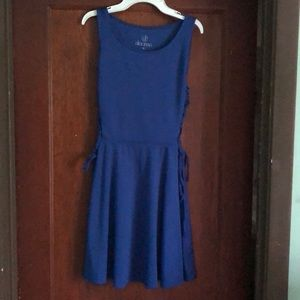 royal blue sundress with tie side detail